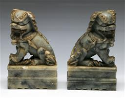 Sale 9164 - Lot 481 - Pair of Chinese stone temple dogs (H:18cm)