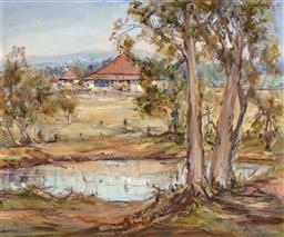 Sale 9256A - Lot 5059 - MARGARET BUGLER Farm at Inglewood oil on canvas laid on board 49 x 59 cm (frame: 71 x 81 x 4 cm) signed lower right