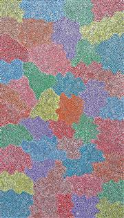 Sale 8203A - Lot 30 - Josie Petrick Kemarre (c.1945 -) - Bush Seed 151 x 89cm (framed and ready to hang)