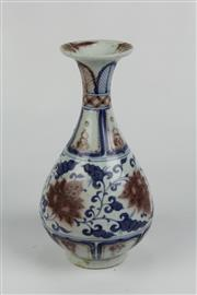 Sale 8384 - Lot 53 - Yuan Blue and Red Pear Shaped Vase
