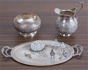 Sale 8486A - Lot 21 - A group of Continental 900 silver pieces including miniature tray, jug and bowl, plus sundry dolls house furniture items
