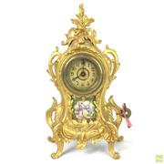 Sale 8649 - Lot 5 - A Petite French Boudoir Clock With Painted Porcelain Panel