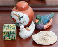 Sale 8934H - Lot 37 - A small group of wares including a ginger jar, a duck, a Goss chicken, an Indian lidded box and a coral