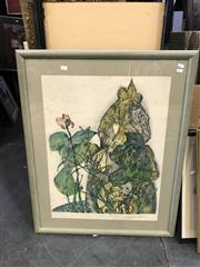 Sale 9045 - Lot 2057 - A vintage French etching of a Woman and Flowers, ed. 64/110 (AF), frame: 99 x 72 cm