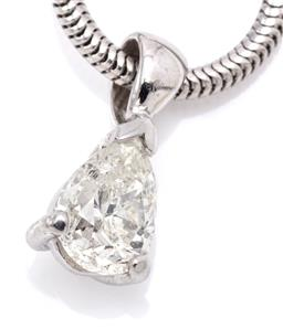 Sale 9132 - Lot 517 - AN 18CT WHITE GOLD SOLITAIRE DIAMOND PENDANT ON CHAIN; claw set with a 0.55ct pear cut diamond, H/P1, length 12mm, on a snake link c...