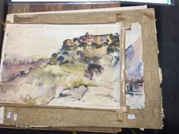 Sale 9130 - Lot 2052 - Allan Gamble (3 works) Mexico City, 1950; Gourdon, France; Bandar Tawayia  ink and watercolour (mounted/unframed) 57 x 67cm (large...