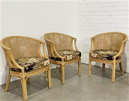 Sale 9188 - Lot 1507 - Set of (4) vintage cane chairs with rattan backs and seat (h84 x w65 x d61cm) -