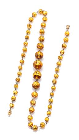 Sale 9221 - Lot 332 - A GOLD FOIL VENETIAN GLASS BEAD NECKLACE; graduated 6.6 - 14mm round beads to screw fitting, length 54cm.