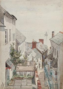 Sale 9237A - Lot 5040 - ARTIST UNKNOWN Clovelly, 1900 watercolour (unframed) 35 x 25 cm unsigned