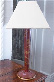 Sale 8800 - Lot 63 - A timber table lamp with red and gilt painted Greek key motif, cream shade, H 62cm