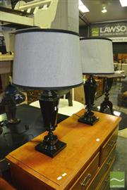 Sale 8380 - Lot 1096 - Pair of Modern Metal Base Table Lamps with Shades