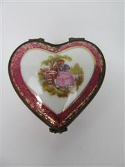 Sale 8402B - Lot 11 - Limoges Heart Shaped Pill Box, France - hairline crack