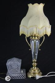 Sale 8436 - Lot 94 - Cut Crystal Lamp with a Glass Example