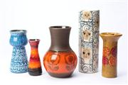 Sale 8670 - Lot 73 - Selection Of Vases Including West German And Italian (5) Max Height:28cm