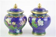Sale 8823 - Lot 65 - Pair of Cloisonne Lidded Cannisters (H 11cm)