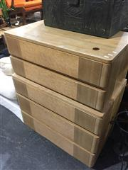 Sale 8942 - Lot 1059 - Blondewood Art Deco Style Chest of Five Drawers (H: 125, W: 91, D: 54cm)