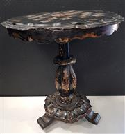 Sale 8951 - Lot 1090 - Ebonised Single Pedestal Wine Table with Damaged Mother of Pearl Inlaid Chess Top (H: 70 x D: 63cm)