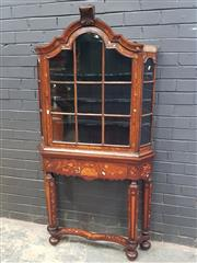 Sale 9031 - Lot 1001 - 19th Century Dutch Display Cabinet on Stand, with floral marquetry all-over, the trapezoid top with arched top & astragal door, abov...