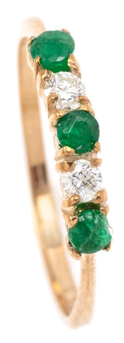 Sale 9132 - Lot 596 - A 9CT GOLD EMERALD AND DIAMOND RING; set across the top with 3 round cut emeralds (chipped) and 2 round brilliant cut diamonds total...