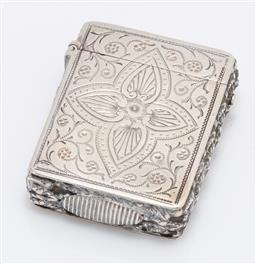 Sale 9180E - Lot 35 - A Victorian sterling silver rectangular vesta with monogram and leaf design, Birmingham, c. 1887, by Hilliard & Thomason, weight 23g
