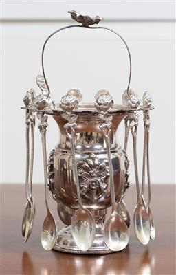 Sale 9140H - Lot 38 - A 925 silver handled caviar comport together with twelve matched 800 silver serving spoons with rose thumbprints, Height of basket 1...