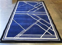 Sale 9188 - Lot 1152 - Modern pure NZ wool carpet with white lines upon blue field & black border (480 x 305cm) some stains