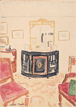 Sale 9237A - Lot 5006 - WALTER TAYLOR (1860-1943) (ENGLISH) Sickerts Drawing Room, c1920 watercolour (mounted/unframed) 48 x 34 cm (mount: 60 x 47.5 cm) si...