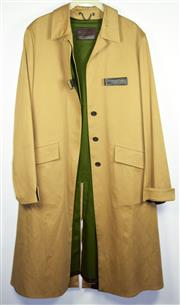 Sale 8460F - Lot 3 - A stylish Prada classic camel trench coat in heavy duty gabardine drill, beautiful green lining, some marks to collar, size L