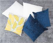 Sale 8471H - Lot 97 - Two ink velvet cushions, 50 x 50cm, together with one tapestry style cushion in green and yellow, two European size white cushions