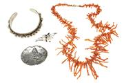 Sale 8584 - Lot 317 - A VINTAGE CORAL NECKLACE AND SILVER JEWELLERY; 49cm branch coral necklace, cuff bangle with cannetille work, a Dutch brooch with buc...
