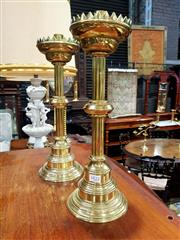 Sale 8693 - Lot 1022 - Pair of Brass Candlesticks, with fluted shafts & crenelated pans