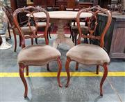 Sale 8956 - Lot 1043 - Set of Six Victorian Carved Walnut Chairs, with interlaced balloon backs, fawn velvet seats & cabriole legs (H:92 x W:45 x D:54cm)