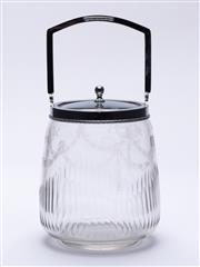 Sale 9015J - Lot 125 - An art deco hand cut and etched crystal biscuit barrel C: 1940s Ht: 25cm to top of handle