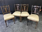 Sale 9048 - Lot 1046 - Set of Four Late Victorian Inlaid Rosewood Music Room Chairs, with lyre panel backs, cream upholstered seats & tapering legs with sp...