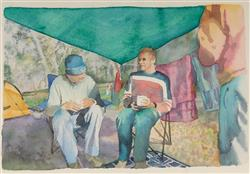 Sale 9096A - Lot 5034 - Michelle Ussher (1975 - ) - Untitled (Guys Under Tent), 2005 18 x 28 cm (frame: 40 x 48 cm )