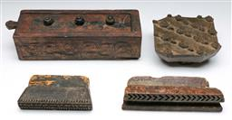 Sale 9144 - Lot 289 - Collection of carved timber printing blocks and a spice drawer (L:31cm)