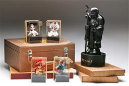 Sale 9164 - Lot 398 - Collection of cased Chinese items inc framed silks and A resin figure of An Immortal on stand (H 30cm)