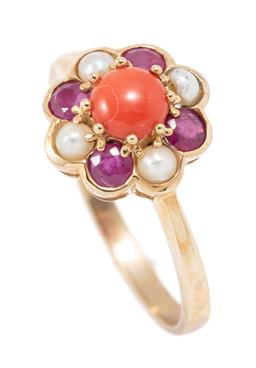 Sale 9177 - Lot 340 - A 9CT GOLD CORAL PEARL AND RUBY CLUSTER RING; centring a round cabochon coral to surround of 4 round cut rubies and 4 seed pearls, t...