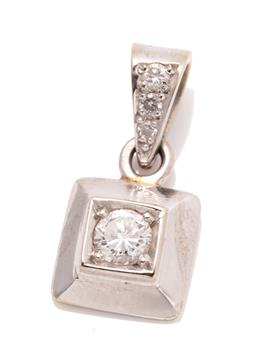 Sale 9260H - Lot 387 - A 14ct white gold diamond pendant; featuring a round brilliant cut diamond of approx. 0.23ct in square frame to bale set with 3 grad...