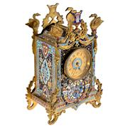 Sale 8000 - Lot 327 - A late C19th French gilt metal and champleve enamel table clock.