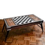 Sale 8000 - Lot 354 - An Indian padouk ebony and ivory inlaid games table with two hinged compartments and folding legs.