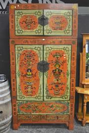Sale 8099 - Lot 811 - Highly Decorated Oriental 4 Door Fitted Cabinet w Metal Mounts & Drawers Below