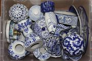 Sale 8432 - Lot 30 - Blue & White Ceramic Spherical Ball With Others incl Fish vase