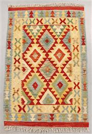 Sale 8438K - Lot 32 - Summer Afghan Tribal Kilim Rug | 117x77cm, Pure Wool, Finely handwoven in Northern Afghanistan using high quality local wool. Vibran...