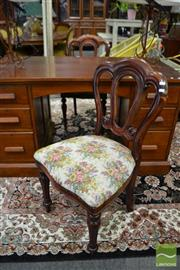 Sale 8495F - Lot 1091 - Pair of Timber Framed Chairs with Floral Upholstered Seat