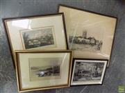 Sale 8578T - Lot 2089 - Collection of (4) assorted prints including hand-coloured lithographs and signed print by Frank Short, each framed, various sizes