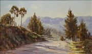 Sale 8682 - Lot 2024 - Allan Fizzell (1944 - ) Sunlit Road to Upper Kangaroo River, Kangaroo Valley, 1976 oil on board, 29 x 49cm, signed and dated lower...