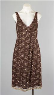 Sale 8740F - Lot 127 - A Collette Dinnigan brown floral lace slip dress with accents of pink, size small