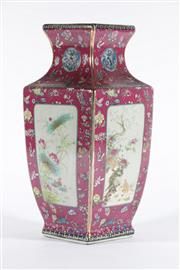 Sale 9003 - Lot 8 - Pink ground Four sided vase with panels decorated with birds and flowers (H33.5cm)