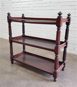 Sale 9097 - Lot 1092 - Victorian Mahogany Dumbwaiter, of three tiers, on turned reeded supports (h103 x w104 x d45cm)